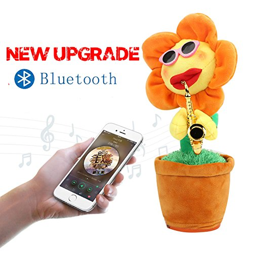 NiceMax Singing Dancing Saxophone Sunflower Plush Potted Funny Creative App Bluetooth Usb Charging Electric Toys Stuffed Toy Animated Dancing Flowers Doll For Kids