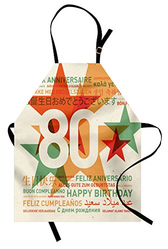 Ambesonne 80th Birthday Apron, 80 Years Old Party with Universal Happy Birthday Best Wish, Unisex Kitchen Bib Apron with Adjustable Neck for Cooking Baking Gardening, Green and Pale Vermilion