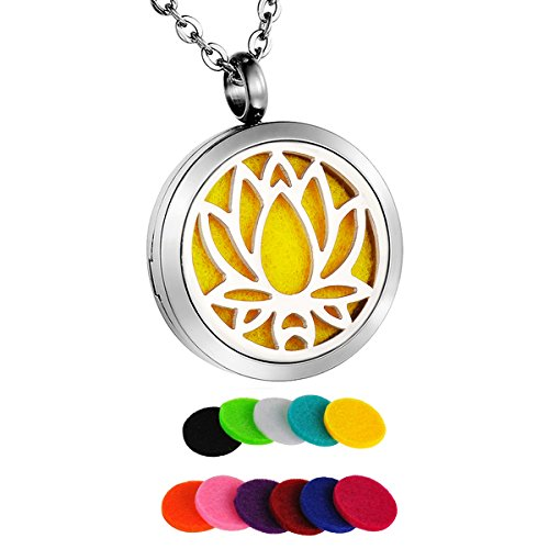 HooAMI Lotus Flower Aromatherapy Essential Oil Diffuser Necklace Pendant Locket Jewelry Gift Set Flower Locket Pendant Jewelry