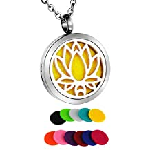 HooAMI Lotus Flower Aromatherapy Essential Oil Diffuser Necklace Pendant Locket Jewelry Gift Set