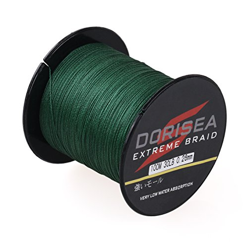 Dorisea Extreme Braid 100 Pe Moss Green Braided Fishing Line 109Yards-2187Yards 6-550Lb Test Fishing Wire Fishing String Incredible Superline Zero Stretch