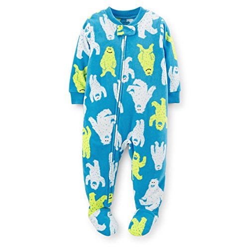 Carters Little Boys 1 Piece Fleece Footed Pajama - Blue - Ice Monsters 2T