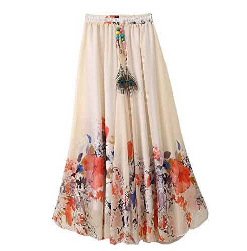 Ahatech Falda Larga Mujer Fiesta, Mujeres Bohemio Maxi Largo Falda Plisada, Falda Maxi de Bohemia 1