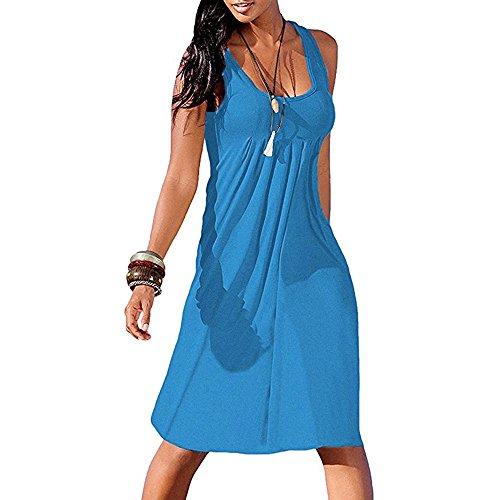 Womens Dresses Casual Edenun Women's Short Sleeve Loose Plain Maxi Dresses Casual Long Dresses with Pockets Blue