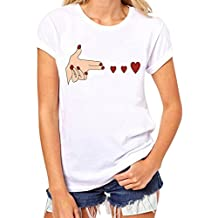 Clearance!! Lelili Women Fashion Short Sleeve Round Neck Heart Print Funny Shirt Casual Blouse Tops