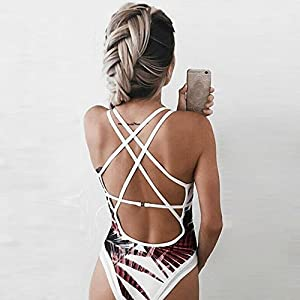 WOCACHI Women's One Piece Beach Swimsuit Swimwear Bathing Monokini Push Up Padded Bikini Beachwear 2019 Spring Summer Sexy Bandage Tankini Up to 30% Off Under 5 10 Fashion Suit Leaves Slim Intimates