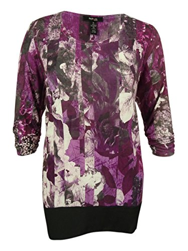 Style & Co. Women's Ruched Sleeve Floral Print Top (L, Staggered (Style & Co Woman Floral Print Top)