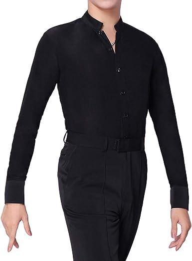 HAORUN - Camiseta de baile latino para hombre, manga larga, elástica, color negro: Amazon.es: Ropa y accesorios
