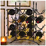 16 Bottle French Country Black Metal Wine Display Rack / Storage Organizer by MyGift®