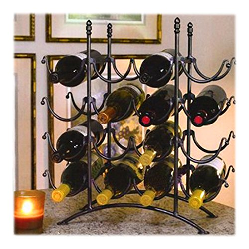 16 Bottle French Country Black Metal Wine Display Rack / Storage Organizer by MyGift (Tabletop Wine Rack Metal)