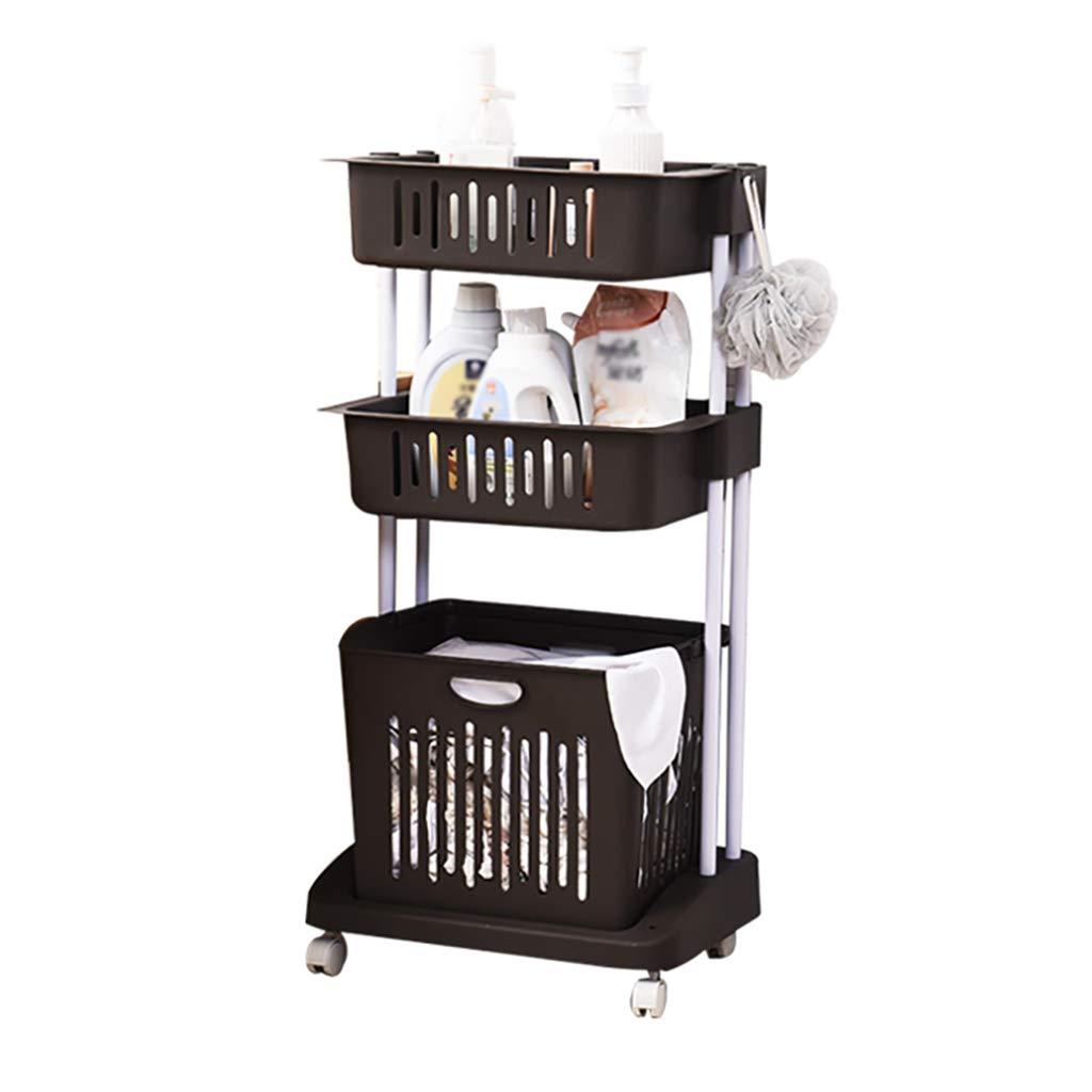 BROWN 4832.798.5cm FANGFA Storage Baskets Plastic 2 Layer 3 Layers Bathroom Kitchen Clothes Laundry Basket with Wheels (3 colors, 2 (color   Brown, Size   48  32.7  98.5cm)