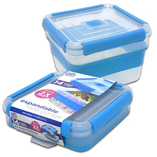 Cool Gear 14 CUP Expandable Food Storage Blue (Plastic, 14 Cups) - Cool Containers
