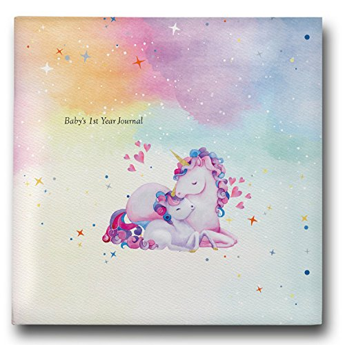 Baby Memory Book - Baby Registry Must Haves - Baby Shower Gift - Unicorn Baby Journals First Year and Memory Books, Unicorns Photo Album from Pillow & Toast