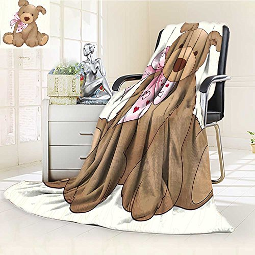 YOYI-HOME Soft Warm Cozy Throw Duplex Printed Blanket Kids Vector Rabbit Bunny Like Teddy Bear with Bow Children Nursey Room Art Print Multicolor Fuzzy Blanket s for Bed or Couch/W39.5