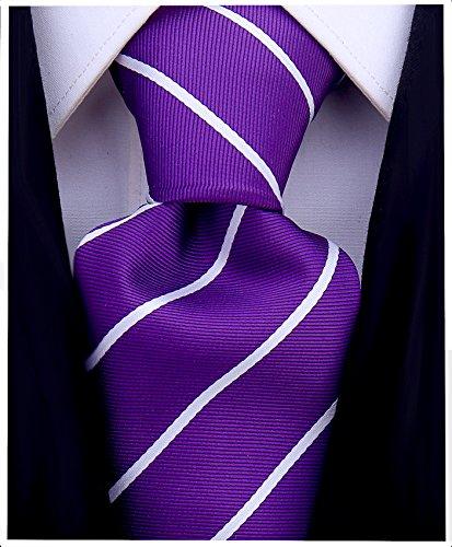 Pencil Stripe Ties for Men - Woven Necktie - Plum Purple ()