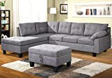 Harper&Bright Designs Sectional Sofa Set with Chaise Lounge and Storage Ottoman Nail Head Detail (Grey)