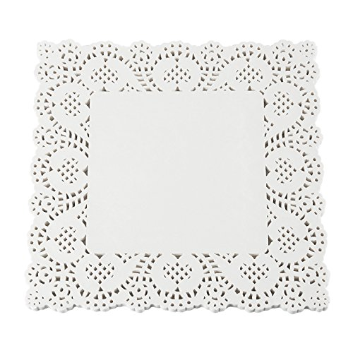 Paper Doilies – 100-Pack Square Lace Placemats for Cakes,