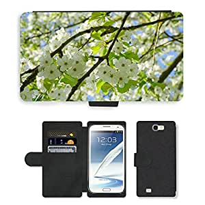 Super Stella Cell Phone Card Slot PU Leather Wallet Case // M00148273 Cherry Blossoms Flowers White Tree // Samsung Galaxy Note 2 II N7100