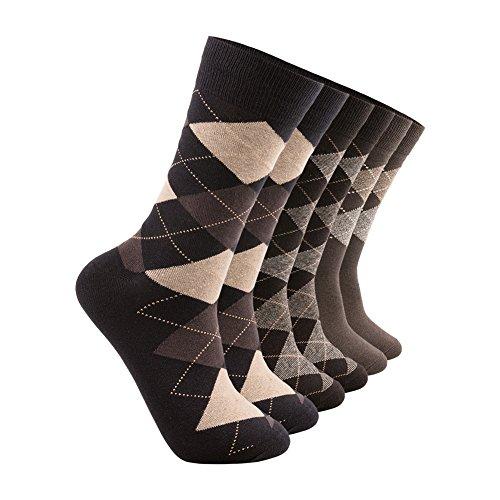 Mens Antibacterial Dress Socks-Argyle and Stripe Classic Casual Cotton Crew socks-pack of 1/3 pairs …
