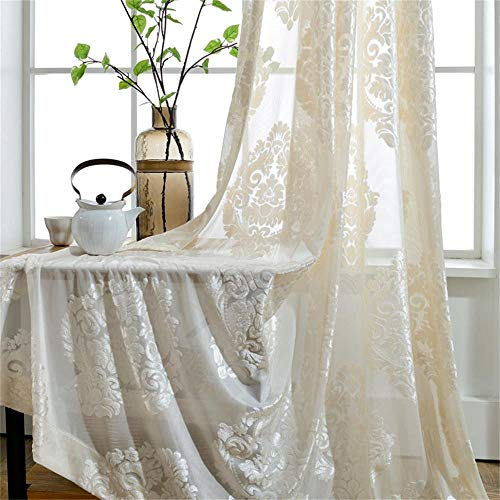 WPKIRA Rod Pocket Top European Style Thicken Flocking Fabric Privacy Lace Sheer Curtain Panels Half-shading Screens Window Curtain Drapes Room Divider For Living Room 1 Panel , White/Cream ()