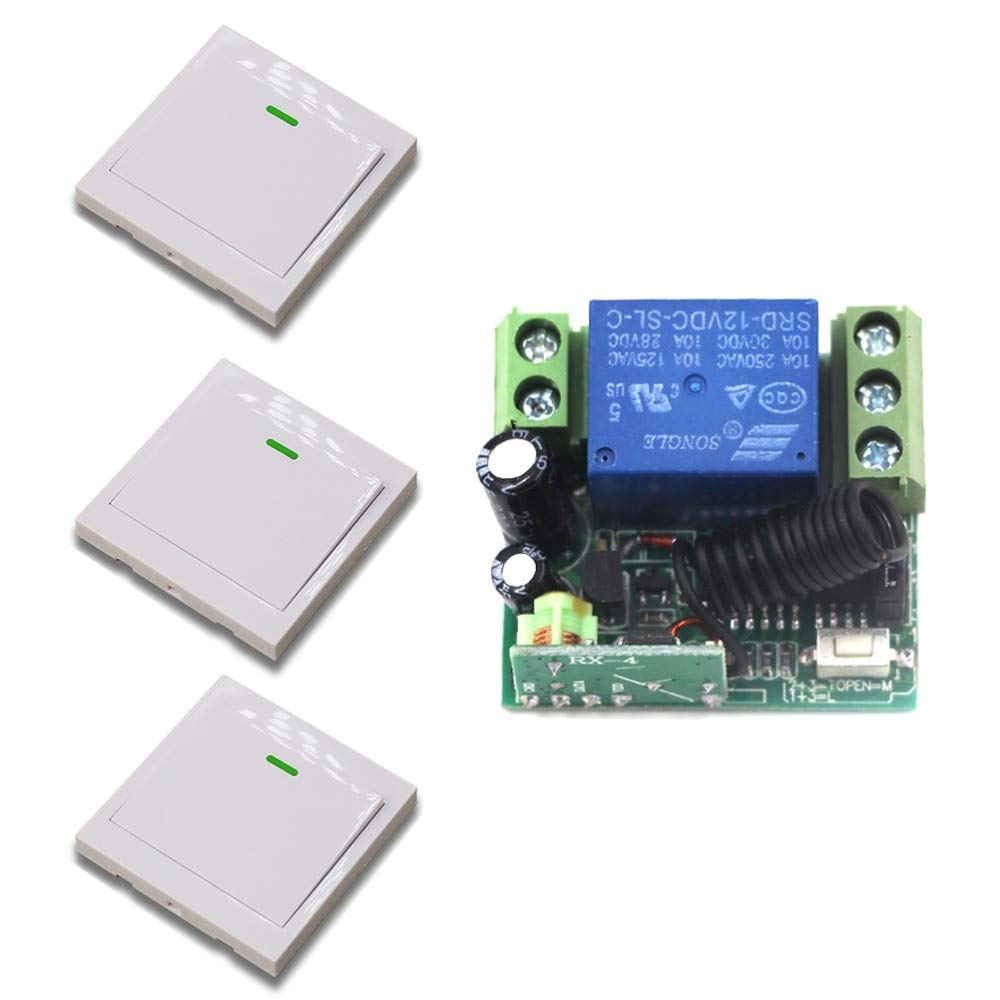 DC12V 433MHZ New DC12V 10A Relay 1CH Wireless RF Mini Remote Control Switch Transmitter + Receiver Light Switch Accessaries  (color  DC12V 433MHZ)