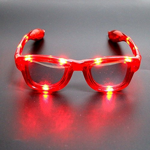 - LED Glasses - 4 Color Options LED Flashing Glasses Party Favor Glasses Rave Party & Party Carnival Decorative Glasses (Red)