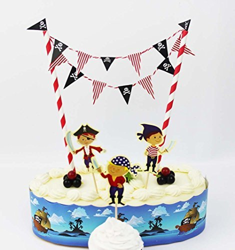 Cool Pirate Cake Bunting Banner Topper Kit for Kids Birthday Party, Baby Shower, Cake Decoration ()