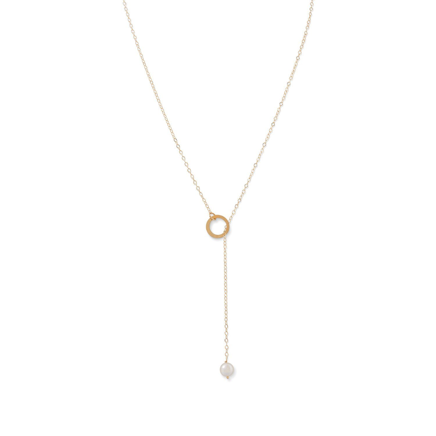 Cultured Freshwater Pearl Necklace Y-style Lariat 14k Yellow Gold by AzureBella Jewelry