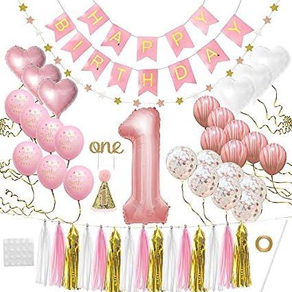 Amazon.com: Decoración de primer cumpleaños para niña, 1er ...