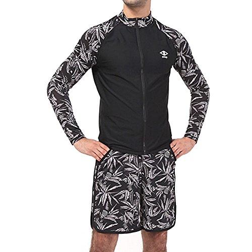 - myglory77mall Mens UV 50+ Protection Tropical zipup Diving Swimwears Surf Rash Guard Black US M(L tag)
