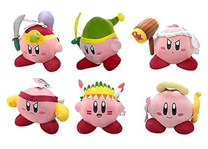 Little Buddy Set of 6 Kirby Adventure Stuffed Plushes - 1324 Ninja/1317 Sword/1321 Hammer/1327 Fighter/1320 Wing/1318 Cupid