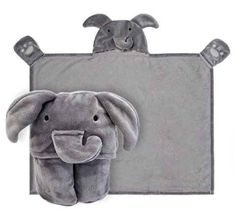 Kids Hooded Blanket,Cute Animal Elephant Flannel Fleece Bath Throw,Fit 3-10 Years Old,Best Gifts for Boys and Girl ()