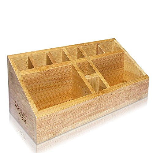SplashSoup Small Multifunctional Bamboo Organizer | Desk Caddy | Home Office Accessory Tray | School Art Supply Holder | Pen Pencil Brush Compartment | Kitchen Bathroom Countertop Storage