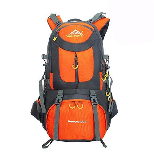 HWJF Al aire libre alpinismo bolsa de senderismo viaje de gran capacidad mochila paquete de camping para hombres y mujeres Orange