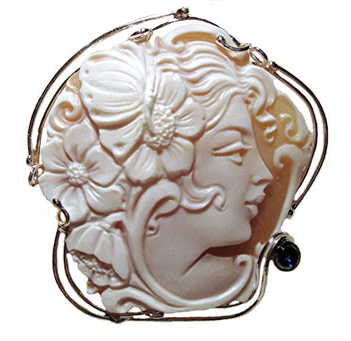 (Cameo Broach and Pendant Master Carved, Summer Dream Sardonyx Shell 925 Sterling Silver Italian)