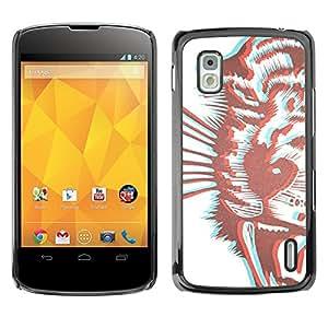 TopCaseStore / la caja del caucho duro de la cubierta de protección de la piel - Tiger 3D Brown Drawing Stereoscopic - LG Google Nexus 4 E960
