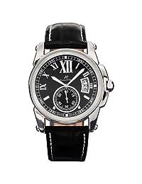 KS Men's KS066 Date Day Automatic Mechanical Black Leather Wrist Watch + Gift Box