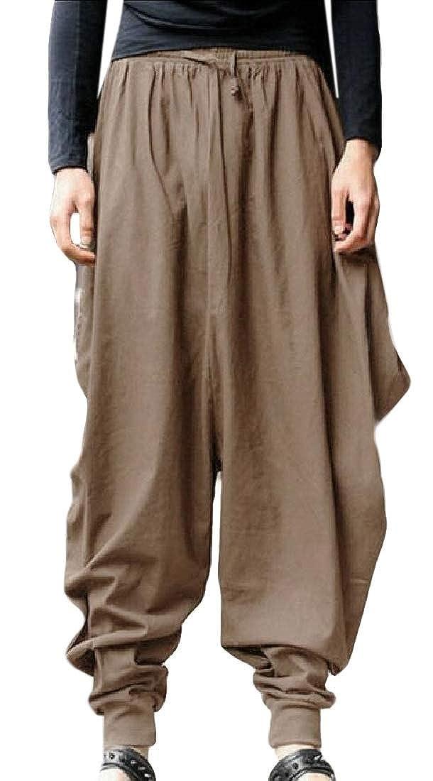 GAGA Men Fashion Jogging Pants Low Crotch Drawstring Baggy Casual Hip Hop Trousers