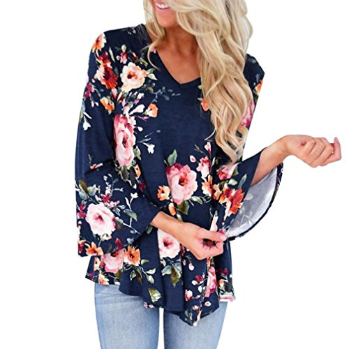 Stampa T Shirt Floreale Ladies Autunno Blu Donna Top YUMM Camicetta Tops Casuale wqAIOaq