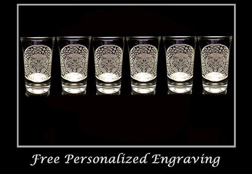 Celtic Wolf Shot Glass Set of 6 - Free Personalized Engraving, 2oz Shot Glass, Wolf Shot Glass, Wedding Favor Shot Glass, Wolf Decor by LyonCraft