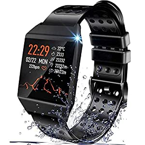 Smart Watch Compatible with iPhone and Android Phones, IP67 Waterproof, Fitness Tracker Watch with Pedometer Heart Rate…