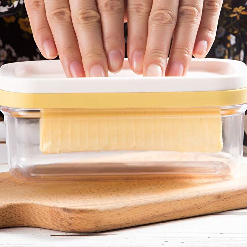 (Plastic Butter Dish With Slicer For Easy Cutting, BPA Free Butter Box With Lid For Fridge, 2 In 1 Clear Butter Container And Storage, Suitable For 8 OZ Or Two 4 OZ Sticks Butter)