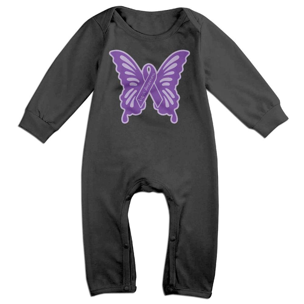 UGFGF-S3 Lupus Awareness Butterfly Long Sleeve Newborn Baby Bodysuit for 6-24 Months Bodysuit