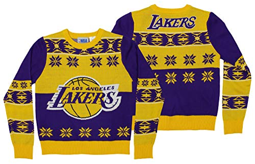 Adidas La Lakers Sweatshirt - NBA Los Angeles Lakers Youth Boys Long Sleeve Ugly Sweater, Purple/Yellow, X-Large (18)