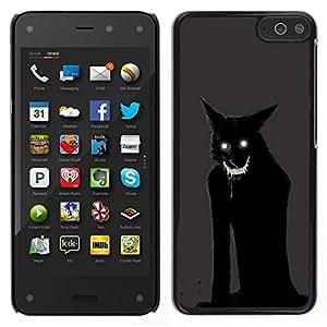 EJOY---Cubierta de la caja de protección para la piel dura ** Amazon Fire Phone ** --Monster Gato Demonio Negro Animal