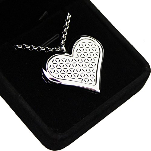 ADORE Heart Aromatherapy Necklace, Flower Of Life Locket, Silver, Velvet Gift Box, Premium Hypoallergenic Stainless Steel, Essential Oil Diffuser Pendant, 24' Chain, 6 Washable Pads, By Livae Jewelry
