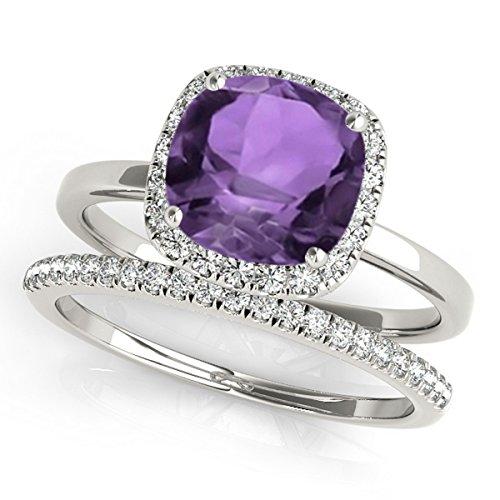Cushion Amethyst and Diamond Halo Bridal Set Palladium (1.14ct)