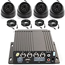 Wen&Cheng 4CH 720P Mobile AHD DVR Realtime Video/Audio Recorder with Remote Control + 4 pcs 24 IR LED Dome Camera + 4pcs Video Power Extension Cables, Car Black Box Security System