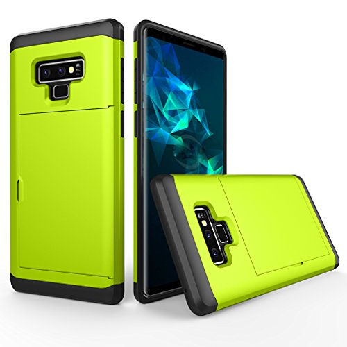 Price comparison product image ANERNAI Galaxy Note9 Cover Wallet Hard Protective Shockproof Shell Bumper Card Holder Cover for Samsung Note 9 (Green)