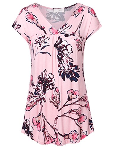 (Women's Cap Sleeve V Neck Pleated Floral Flowy Tops Blouse Kimono Shirts A-Pink XL)